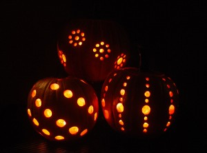 Pumpkin carving with a drill by A Garden Glove
