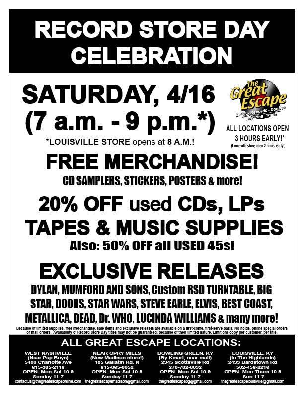Record Store Day Great Escape
