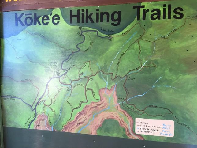 Map at the lodge kauai kokee hiking trails aloha