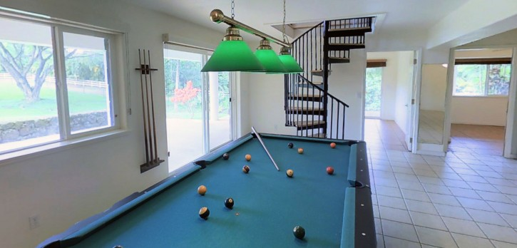 Kapaka Princeville Home For Sale Kauai North Shore Lanai Pool Table