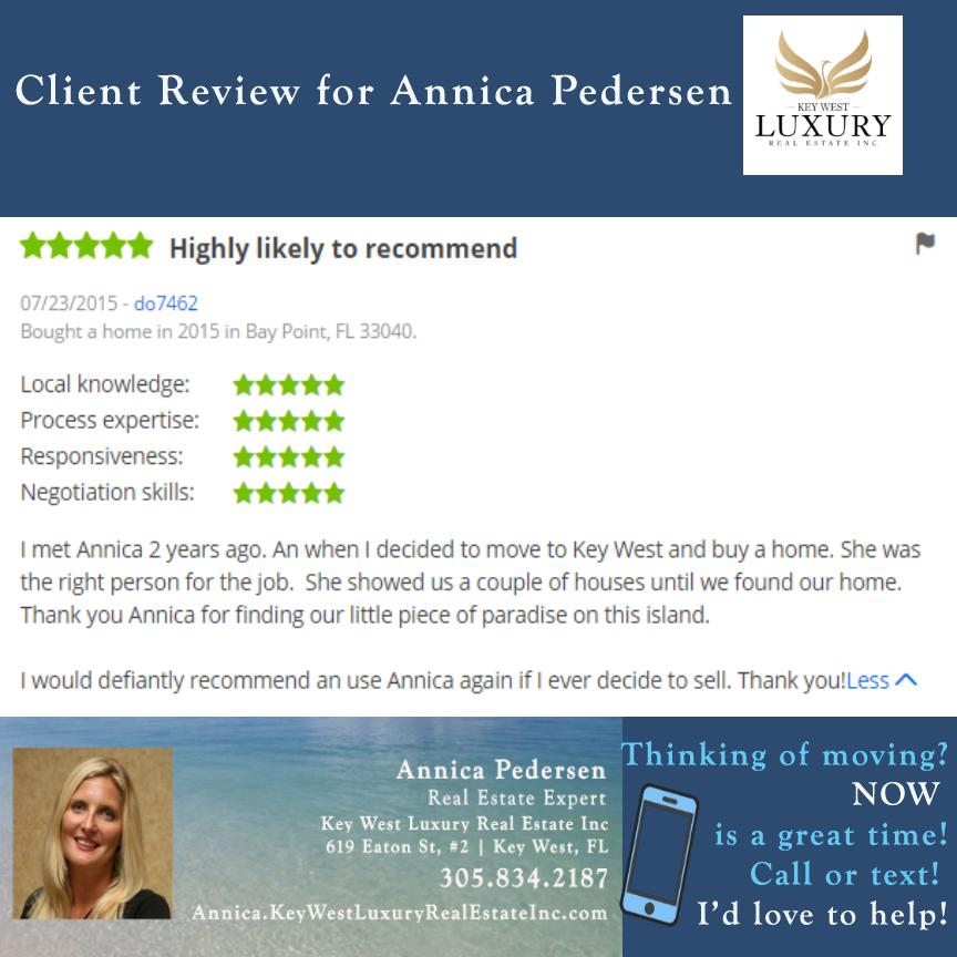 Annica Pedersen | Key West Luxury Real Estate Inc | 305.834.2187 | Key West, FL | Annica.KeyWestLuxuryRealEstateInc.com