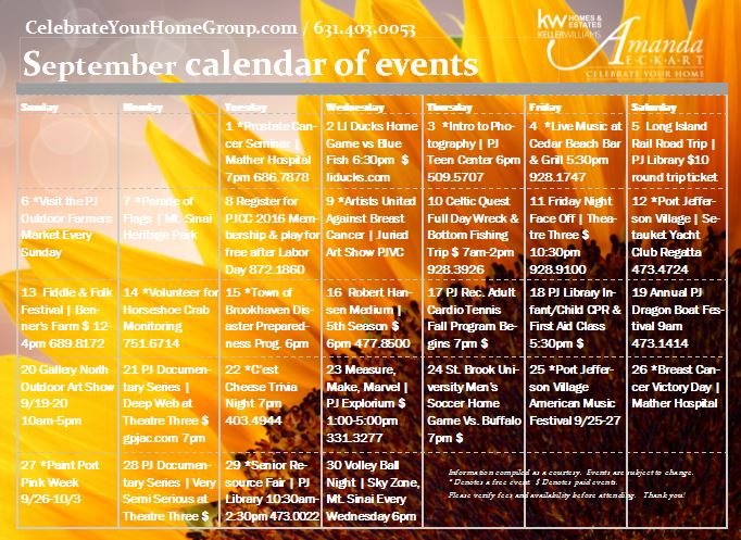 september calendar of events in and around port jefferson the greater three village area. Black Bedroom Furniture Sets. Home Design Ideas