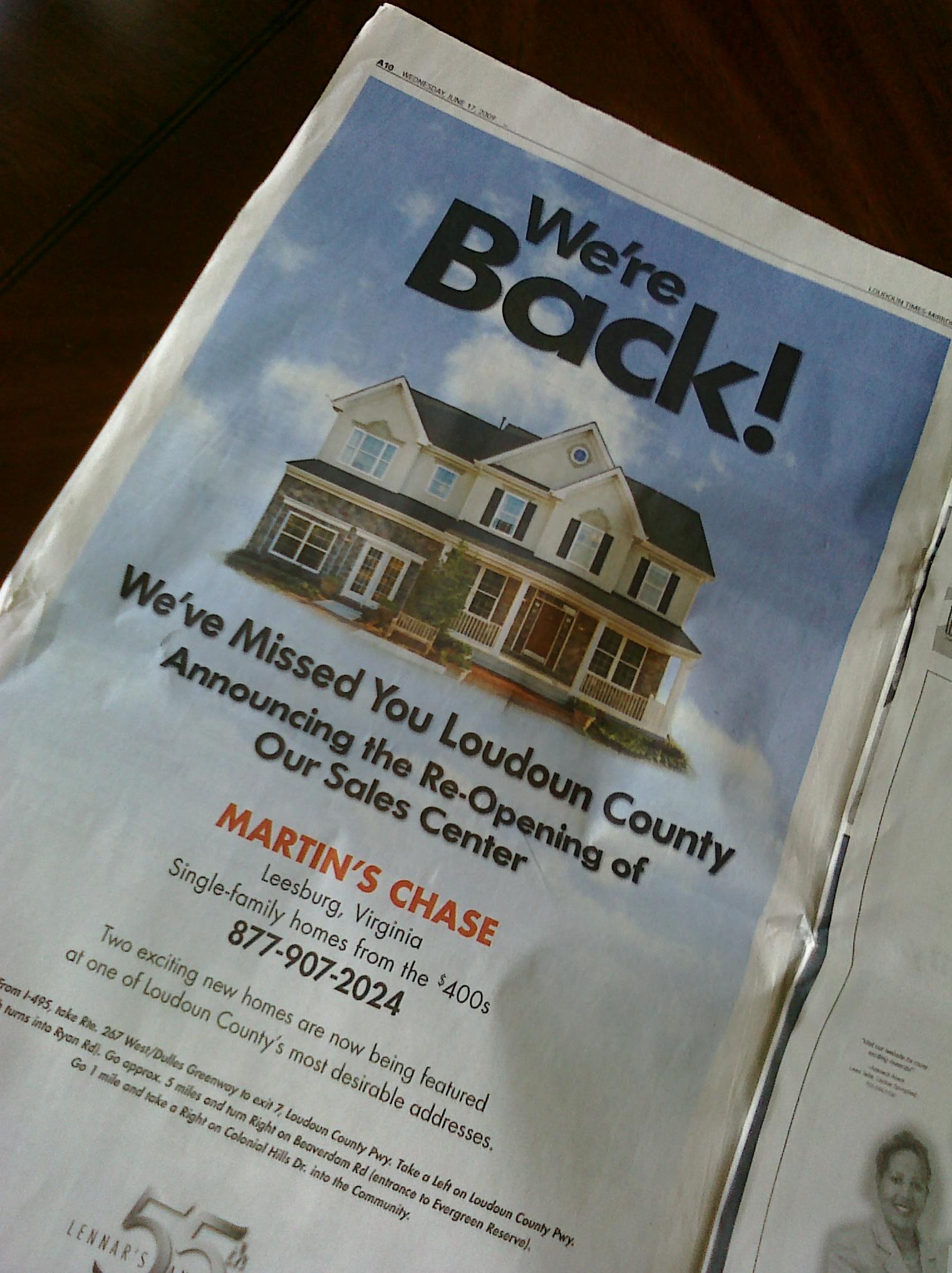 Lennar Ad in Loudoun Times