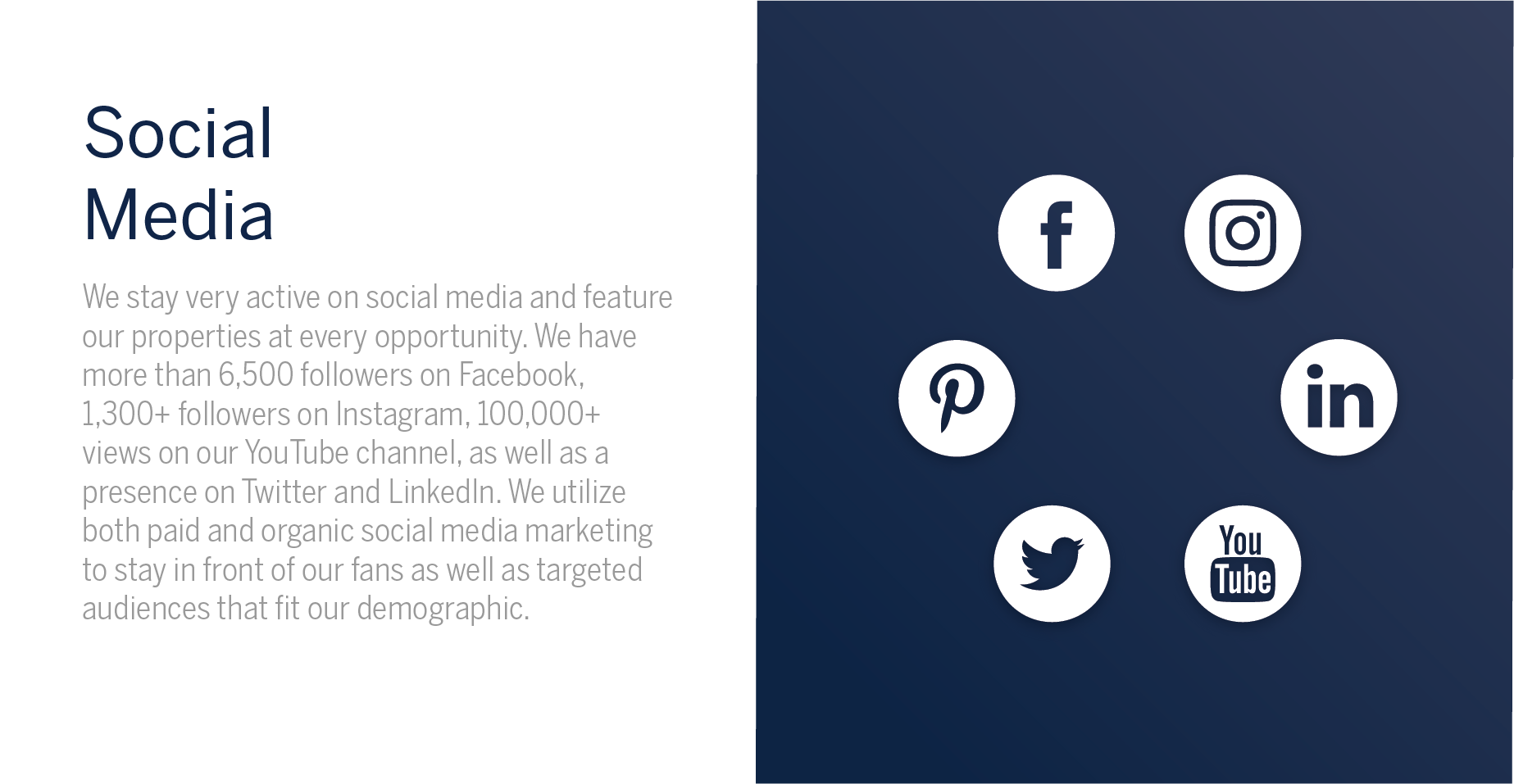 Social Media - Amanda Howard Sotheby's International Realty stays very active on social media and feature our properties at every opportunity. We have more than 6,500 followers on Facebook, and 1,300+ followers on Instagram, as well as a presence on Twitter and LinkedIn. In the last two years, we have had 100,000+ views on our YouTube channel. We utilize both paid and organic social media marketing to stay in front of our fans as well as targeted audiences that fit our demographic.