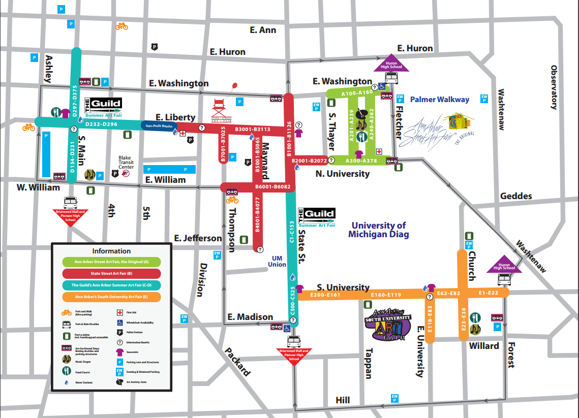Here's the 411 on the 2016 Ann Arbor Art Fair | Greater Ann ... on map of bellevue mi, map of burtchville mi, map of goodells mi, map of britton mi, map of huron river mi, map of grosse pointe farms mi, map of port sanilac mi, map of filion mi, map of east jordan mi, map of cannonsburg mi, map of irish hills mi, map of three oaks mi, map of alcona county mi, map of saint clair shores mi, map of buchanan mi, map of reading mi, map of pleasant ridge mi, map of bangor mi, map of chesterfield twp mi, map of north oakland county mi,