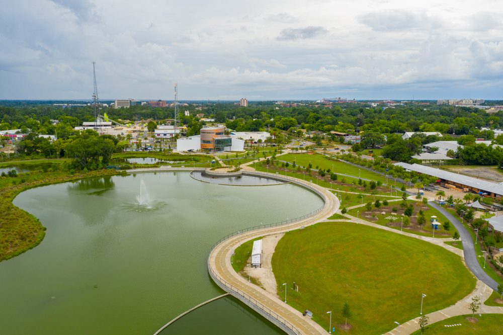 Aerial View of Downtown Gainesville and Depot Park