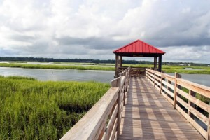 Fishing pier in marsh