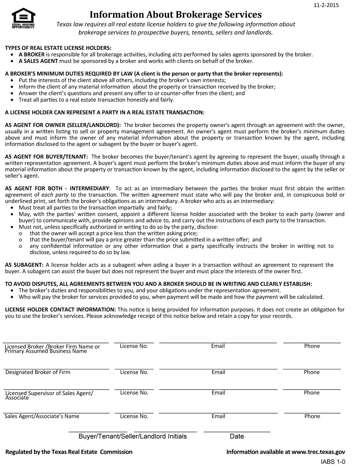 Texas Real Estate Commission Information About Brokerage Services