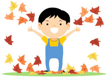 Boy Celebrating Autumn With Falling Leaves Clipart