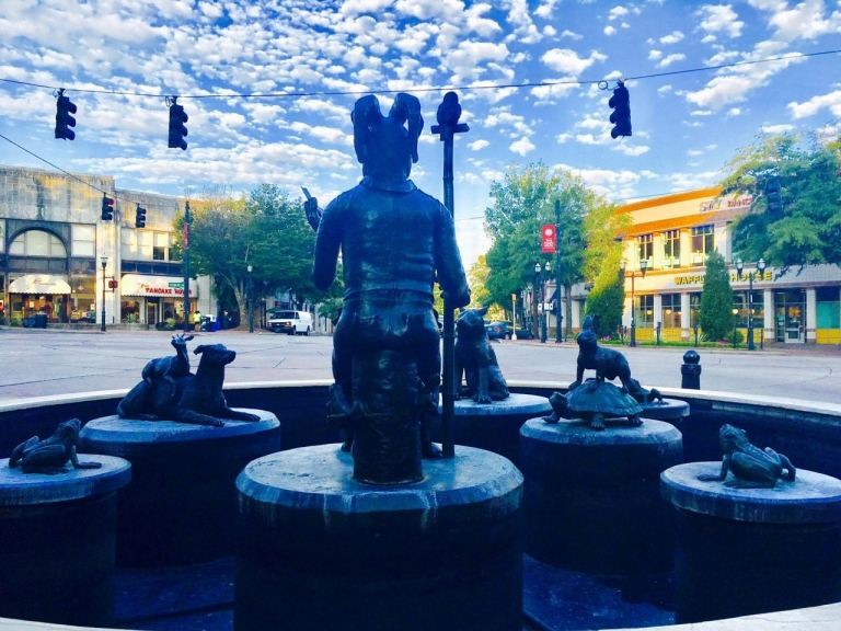 The Storyteller Fountain is right at Five Points South.
