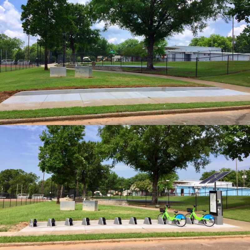 New pool and Zyp BikeShare station at Memorial Park in Titusville