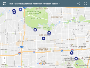 Top 10 most expensive houses in houston map