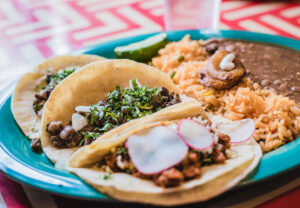 tacos with rice and beans