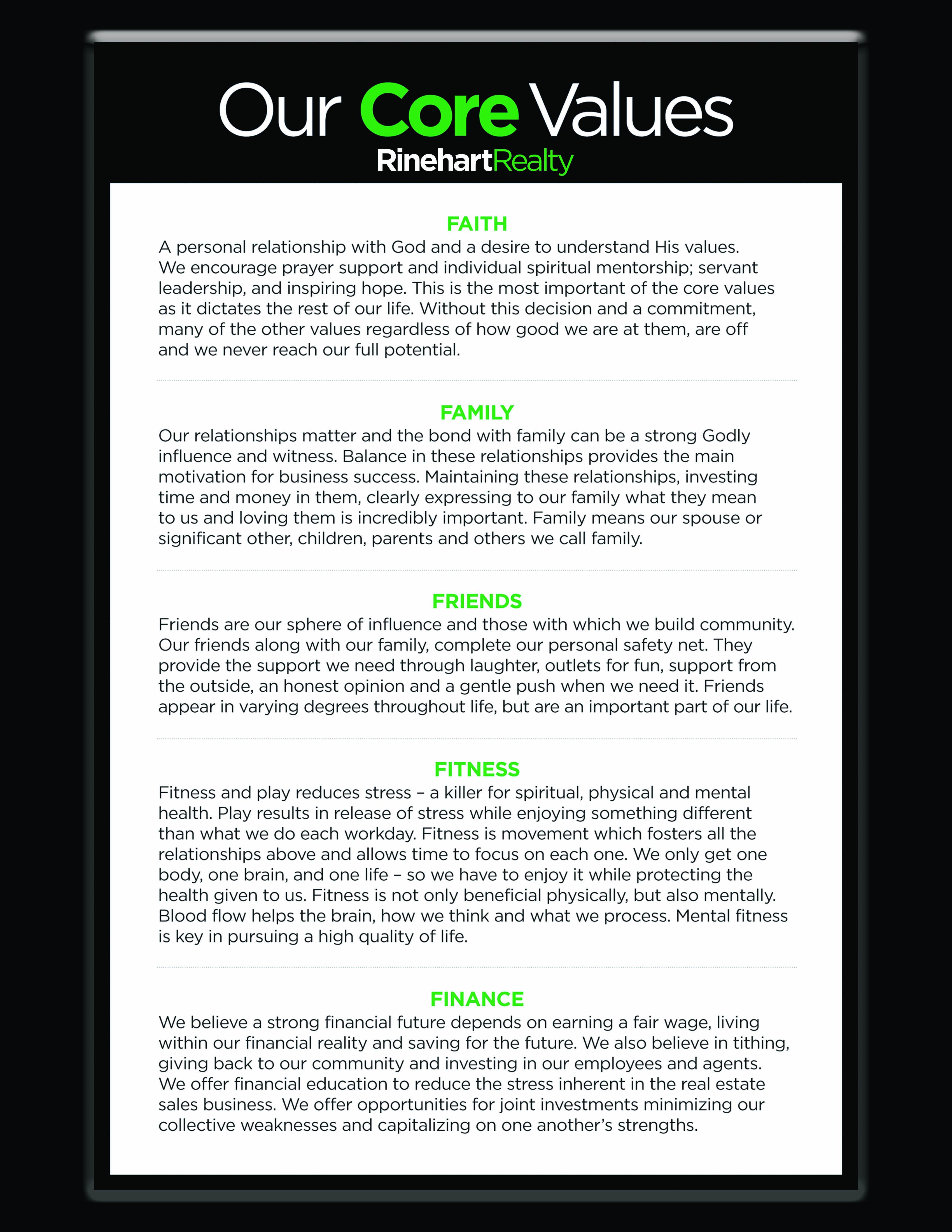 Rinehart Realty Core Values