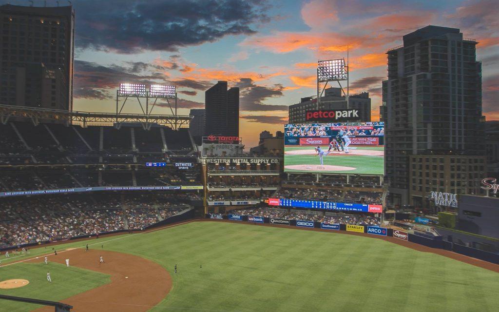 Padres game at Petco Stadium at sunset