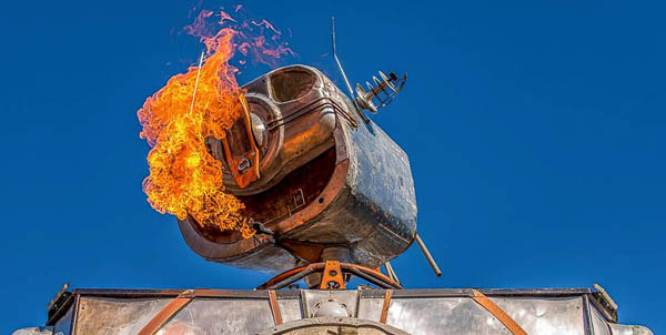 A giant robot breathes fire at the San Diego Maker Faire in 2017