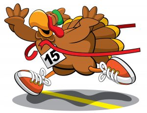 Turkey corssing a finish line