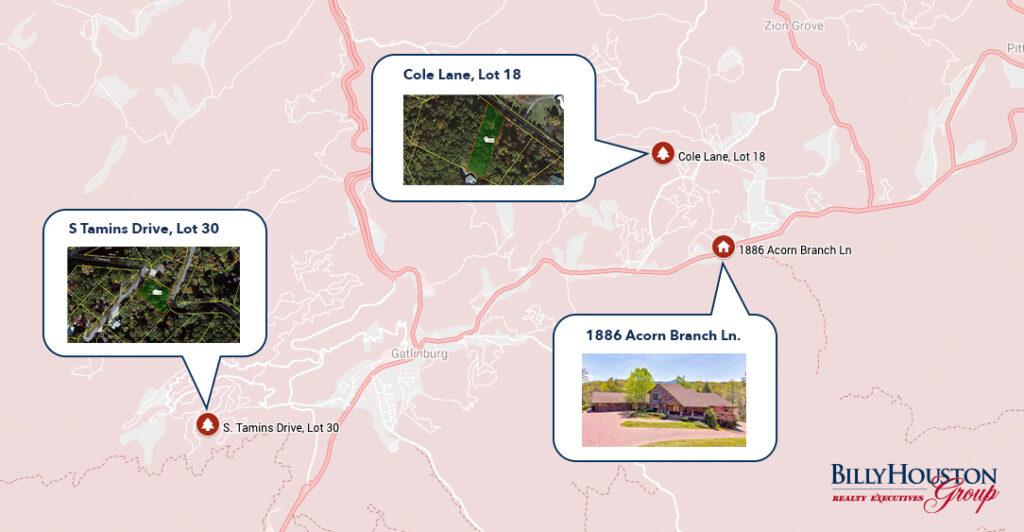 Gatlinburg Available Properties Map - July 2020