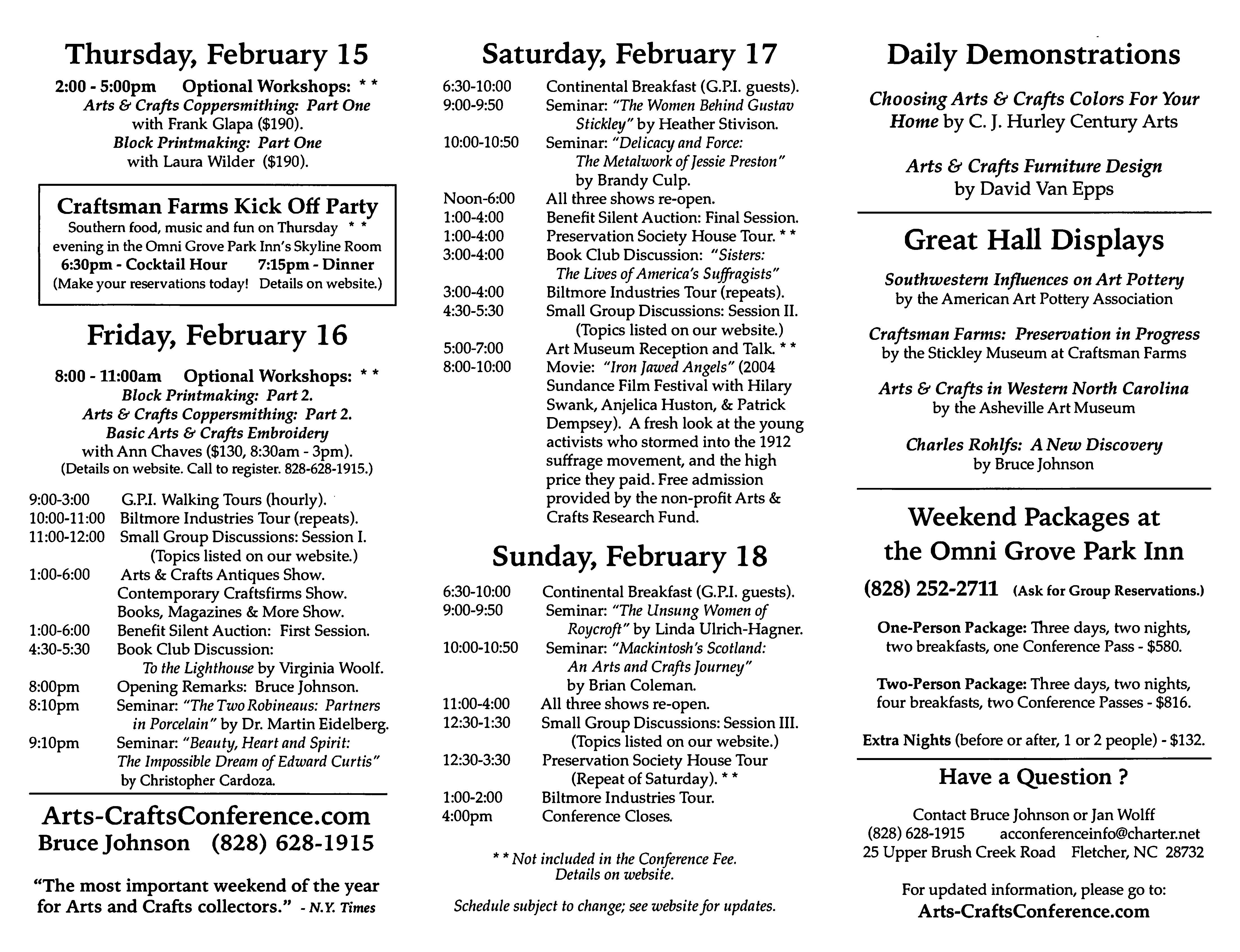 2018 Schedule for Asheville Arts & Crafts Conference