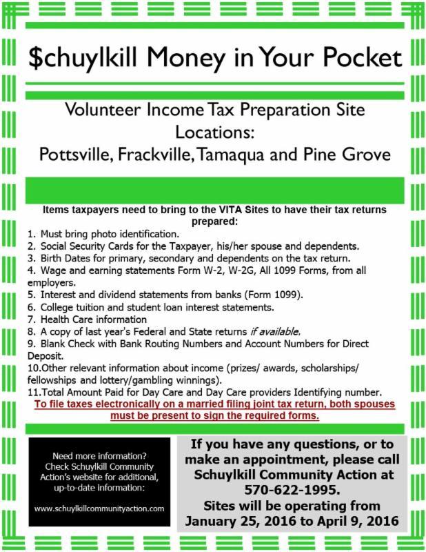 Schuylkill Volunteer Tax Help