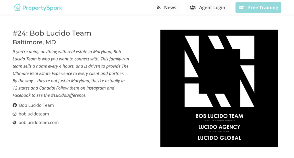 Bob Lucido Team - Property Spark's Top 50 Real Estate Teams on Social Media in America