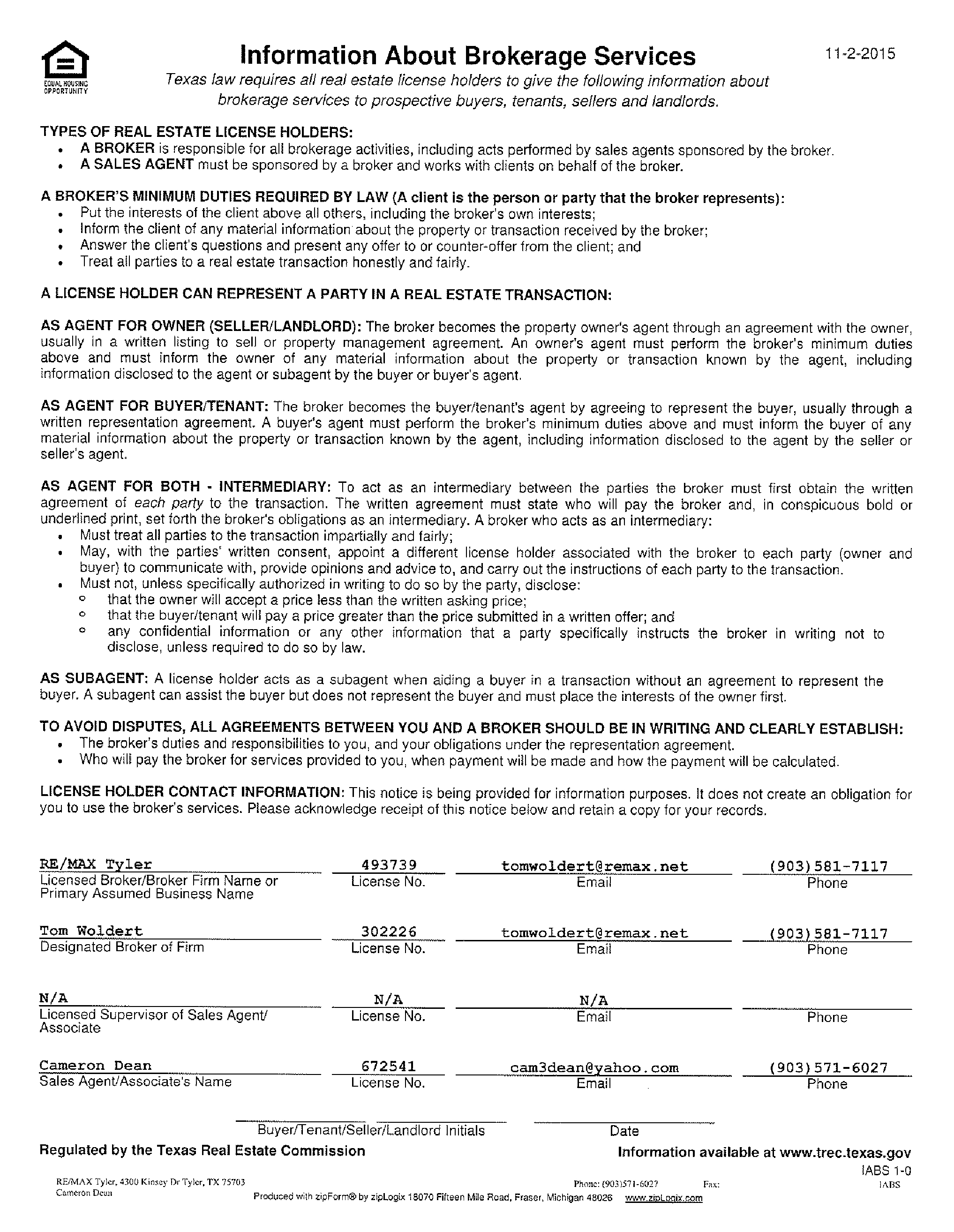 Texas Real Estate Commission Information About Brokerage Services ...