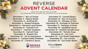 reverse Advent donation request RE/MAX Capitol Properties