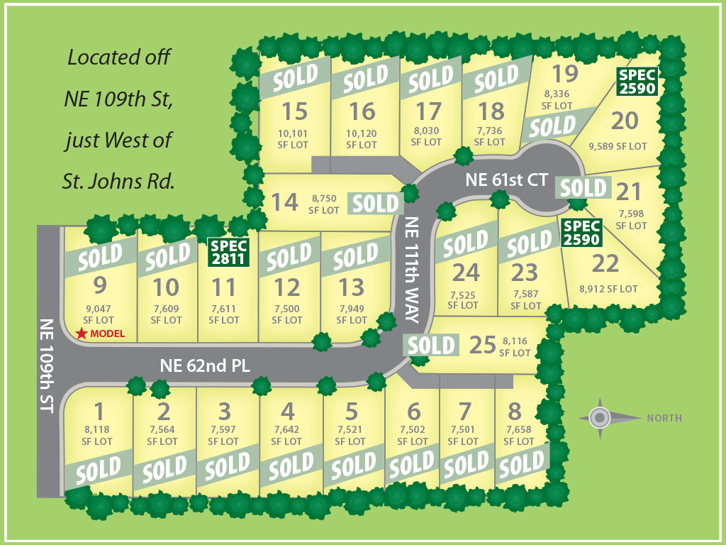 Winston Estates plat map, new homes by Glavin Homes in Vancouver WA