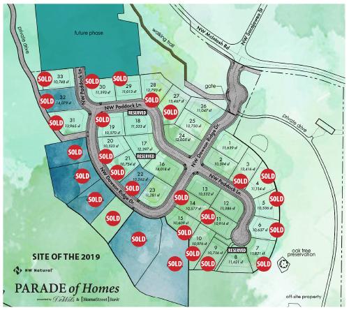 Dawson's Ridge plat map, 2019 Parade of Homes located in Camas, WA