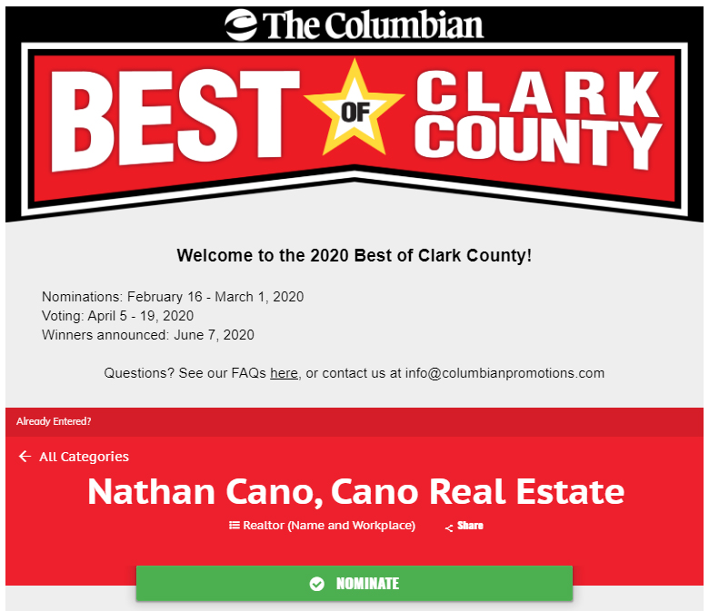 Nominate Nathan Cano, Cano Real Estate for Best of Clark County 2020
