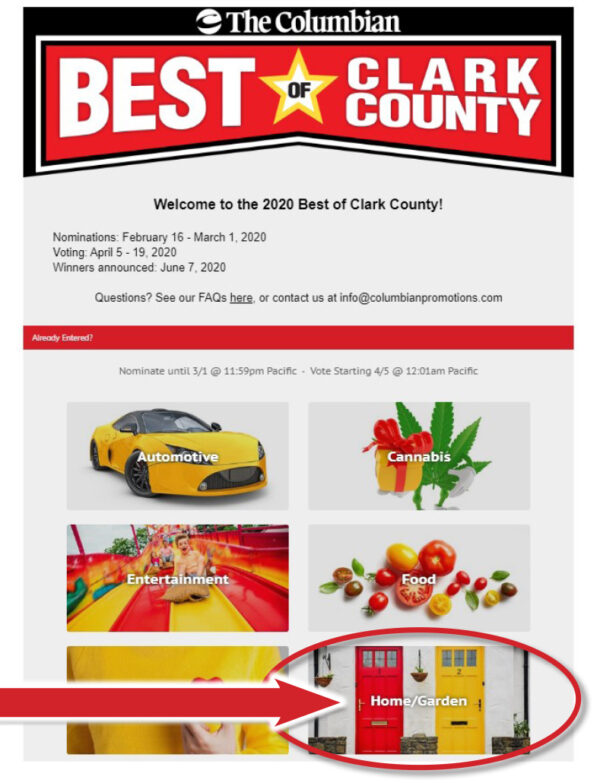 Best of Clark County 2020 Home/Garden Category