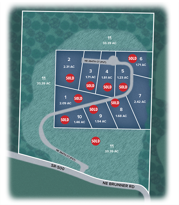 Pinnacle Aerial Plat map showing lots 7 available. All others are sold.