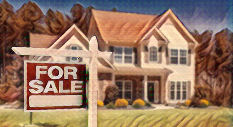 Stylized home with generic For Sale sign in front