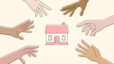 clip art of a home in the middle with variety of hands reaching for it