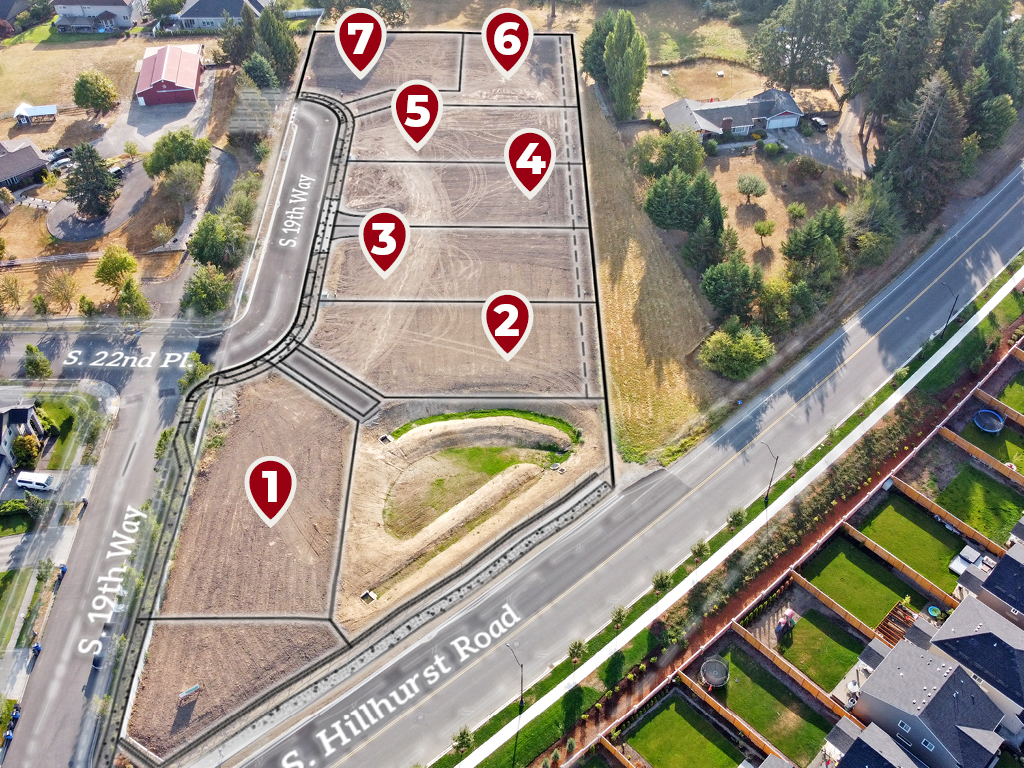 Zephyr Point aerial photo with approximate plat lines and lot labels