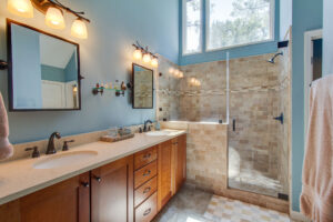 Updates Master bathroom with stone walk-in shower
