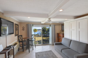 Tile floors and coffered ceiling