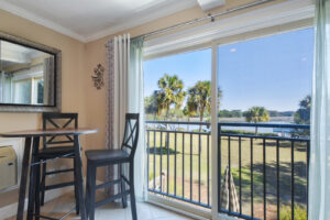 Crown molding and fully furnished unit.