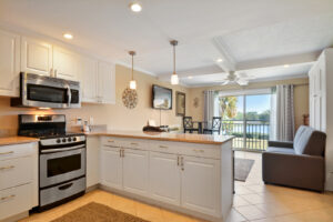 Granite countertops and stainless appliances in kitchen