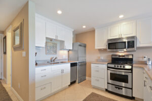 Plenty of cabinets and dishwasher in unit.