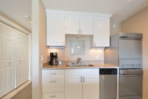 Washer and Dryer in kitchen allows you to be organized during your trip.