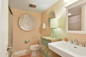 Updated bathroom with tile flooring and shower