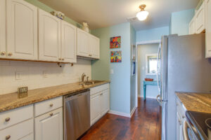 White cabinets and stainless steel appliances