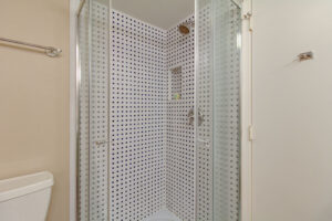 walk-in glass tile shower