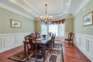 dining room with crown molding details