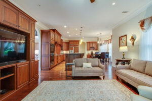Family room is open to the spacious kitchen