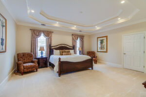 Large master suite with tray ceilings