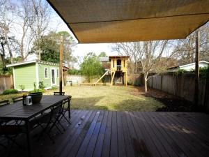 Backyard with deck at 250 W Poplar
