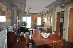 Living room & dining at 150 Bee Street lofts