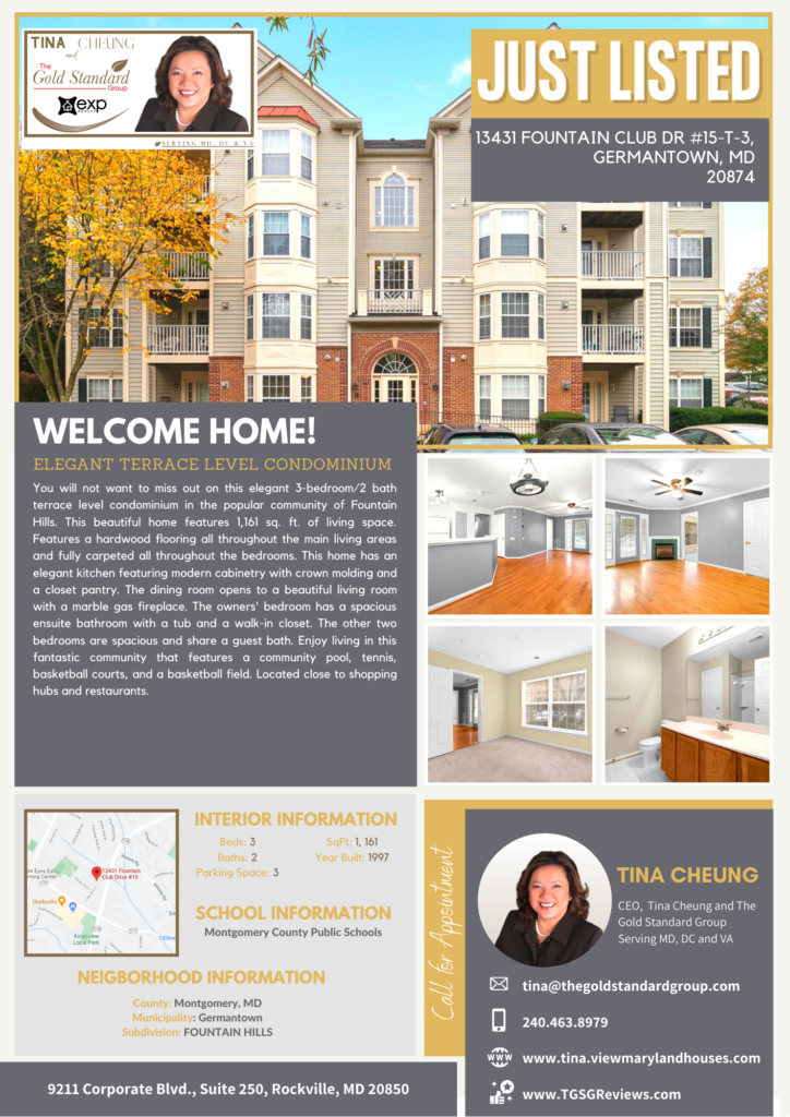 Just Listed : 13431 Fountain Club Dr #15-T-3 Germantown, MD 20874